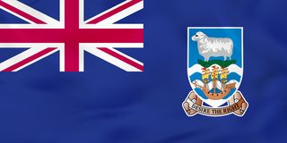Bandera que agita de Falkland Islands Textura del fondo de la bandera nacional de Falkland Islands stock de ilustración