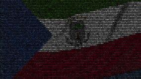 Bandera que agita de la Guinea Ecuatorial hecha de símbolos del texto en una pantalla de ordenador Animación loopable conceptual almacen de metraje de vídeo