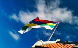Bandera que agita de la isla de Wadden de Terschelling Foto de archivo