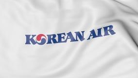 Bandera que agita de la representación editorial 3D de Korean Air Fotografía de archivo
