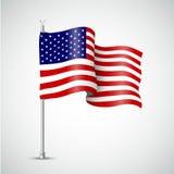 Bandera que agita de los E.E.U.U. Ilustración del vector Imágenes de archivo libres de regalías