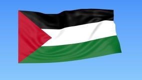 Bandera que agita de Palestina, lazo inconsútil Tamaño exacto, fondo azul Parte de todos los países fijados 4K ProRes con alfa ilustración del vector