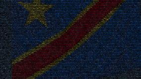 Bandera que agita de República Democrática del Congo, hecha de símbolos del texto en una pantalla de ordenador Loopable conceptua almacen de metraje de vídeo