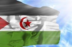 Bandera que agita de Western Sahara contra el cielo azul con rayos solares ilustración del vector