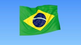Bandera que agita del Brasil, lazo inconsútil Tamaño exacto, fondo azul Parte de todos los países fijados 4K ProRes con alfa ilustración del vector