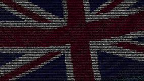 Bandera que agita del Reino Unido hecho de símbolos del texto en una pantalla de ordenador Animación loopable conceptual almacen de video