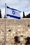 Bandera de Israel y la pared que se lamenta Imagen de archivo