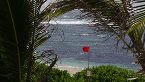Bandera que agita roja en una costa en Mauricio almacen de video