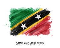 Bandera realista de la pintura de la acuarela del santo San Cristobal y Nevis Vector Imagen de archivo