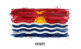 Bandera realista de la pintura de la acuarela de Kiribati Vector rastro no auto Utilice el cepillo del watercolour ilustración del vector