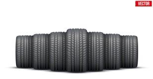 Bandera realista de los neumáticos de goma Ilustración del vector libre illustration