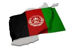 Bandera realista que cubre la forma de Afganistán (series) Imagen de archivo libre de regalías
