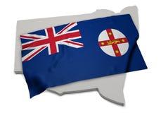 Bandera realista que cubre la forma de Nuevo Gales del Sur (series) Imagenes de archivo