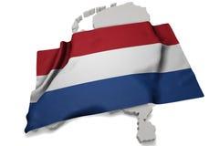 Bandera realista que cubre la forma de Países Bajos (series) Imágenes de archivo libres de regalías
