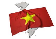 Bandera realista que cubre la forma de Vietnam (series) Imagen de archivo libre de regalías
