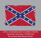 Bandera rebelde confederada plana - movimientos artísticos y Splashe del cepillo stock de ilustración