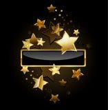 Bandera rectangular con las estrellas del oro ilustración del vector