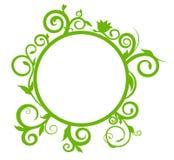 Bandera redonda con el ornamento delicado de la primavera para su diseño Imagen de archivo
