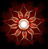Bandera redonda con la flor abstracta Foto de archivo