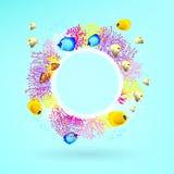 Bandera redonda de corales con los peces de mar brillantes libre illustration