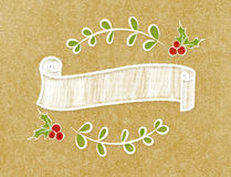 Bandera redonda de la cinta en blanco del vintage en estilo del garabato en arte marrón Foto de archivo libre de regalías