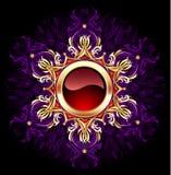 Bandera redonda de la joyería en fondo púrpura Imagenes de archivo