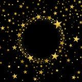 Bandera redonda de las estrellas decorativas del oro ilustración del vector