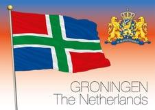 Bandera regional de Groninga, Países Bajos, unión europea stock de ilustración