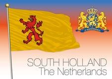 Bandera regional de Holanda Meridional, Países Bajos, unión europea ilustración del vector