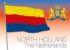 Bandera regional de Holanda Septentrional, Países Bajos, unión europea stock de ilustración