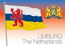 Bandera regional de Limburgo, Países Bajos, unión europea ilustración del vector