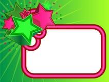 Bandera retra de las estrellas en fondo verde stock de ilustración