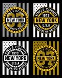 02 Bandera retra de Nueva York, stock de ilustración