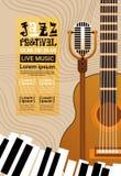 Bandera retra del anuncio del cartel de Jazz Festival Live Music Concert ilustración del vector