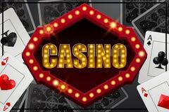 Bandera retra del casino del estilo con las luces y los as libre illustration