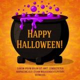 Bandera retra linda del feliz Halloween en el papel del arte Imagen de archivo libre de regalías