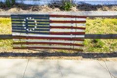 Bandera revolucionaria de madera de Betsy Ross 1776 Fotografía de archivo