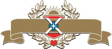 Bandera rico adornada con una guirnalda del laurel Foto de archivo libre de regalías