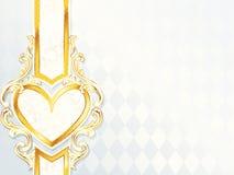 Bandera rococó horizontal de la boda con el emblema del corazón