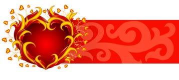 Bandera roja con el corazón ardiente Fotos de archivo libres de regalías