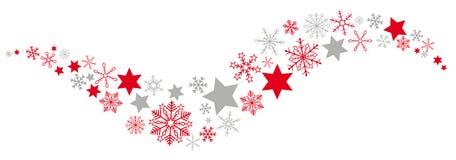 Bandera roja de Gray Snowflakes Stars Dust Flat de la Navidad ilustración del vector