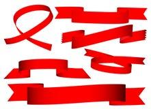Bandera roja de la cinta Imagen de archivo