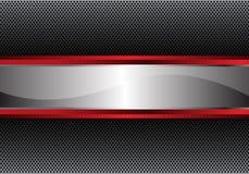 Bandera roja de plata abstracta en vector moderno del fondo del metal del círculo de la textura del diseño gris del modelo Foto de archivo libre de regalías