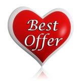 Bandera roja del corazón de la mejor oferta de las tarjetas del día de San Valentín Fotografía de archivo libre de regalías