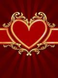 Bandera roja en forma de corazón vertical con el filig del oro Fotos de archivo