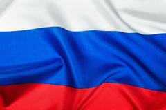 Bandera rusa hecha del primer de seda Foto de archivo libre de regalías