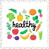 Bandera sana con las verduras stock de ilustración