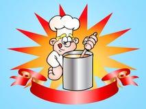 Bandera satisfecha del cocinero ilustración del vector