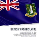 Bandera sedosa de British Virgin Islands que agitan en un fondo blanco aislado con el área de texto blanca para su mensaje del an Imagen de archivo