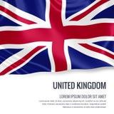 Bandera sedosa de Reino Unido que agita en un fondo blanco aislado con el área de texto blanca para su mensaje del anuncio Fotografía de archivo